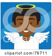 African American Male Avatar Angel Over Blue
