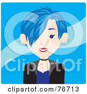 Royalty Free RF Clipart Illustration Of A Caucasian Punk Avatar Woman With Blue Hair by Rosie Piter