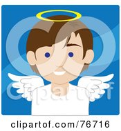 Royalty Free RF Clipart Illustration Of A Brunette Caucasian Male Avatar Angel Over Blue by Rosie Piter
