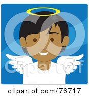 Royalty Free RF Clipart Illustration Of An Indian Male Avatar Angel Over Blue by Rosie Piter