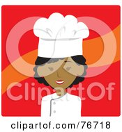Royalty Free RF Clipart Illustration Of An African American Avatar Chef Woman Over Red