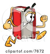 Clipart Picture Of A Red Book Mascot Cartoon Character Running