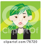 Royalty Free RF Clipart Illustration Of A Caucasian Punk Avatar Woman With Green Hair by Rosie Piter