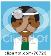 Royalty Free RF Clipart Illustration Of A Friendly Male Indian Doctor Avatar Over Blue by Rosie Piter