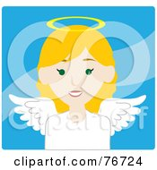 Royalty Free RF Clipart Illustration Of A Blond Caucasian Female Avatar Angel Over Blue