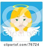 Blond Caucasian Female Avatar Angel Over Blue