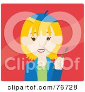 Royalty Free RF Clipart Illustration Of A Blond Caucasian Avatar Artist Woman On Red