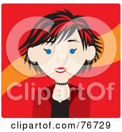 Royalty Free RF Clipart Illustration Of A Caucasian Punk Avatar Woman With Red Hair by Rosie Piter