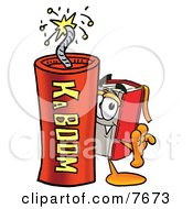 Clipart Picture Of A Red Book Mascot Cartoon Character Standing With A Lit Stick Of Dynamite