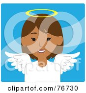 Royalty Free RF Clipart Illustration Of A Hispanic Female Avatar Angel Over Blue by Rosie Piter