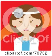Brunette Caucasian Doctor Avatar Woman Wearing A Head Lamp