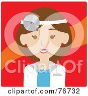 Brunette Caucasian Doctor Avatar Woman Wearing A Head Lamp