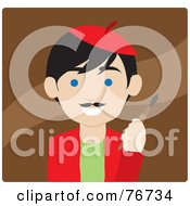 Royalty Free RF Clipart Illustration Of A Black Haired Caucasian Avatar Artist Man On Brown