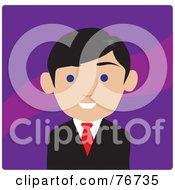 Royalty Free RF Clipart Illustration Of A Friendly Blue Eyed Male Lawyer Avatar Over Purple by Rosie Piter