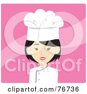 Royalty Free RF Clipart Illustration Of An Asian Avatar Chef Woman Over Pink