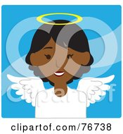 Royalty Free RF Clipart Illustration Of A Black Female Avatar Angel Over Blue by Rosie Piter