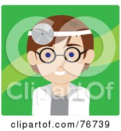 Royalty Free RF Clipart Illustration Of A Brunette Caucasian Doctor Avatar Man Wearing A Head Lamp