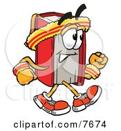 Clipart Picture Of A Red Book Mascot Cartoon Character Speed Walking Or Jogging