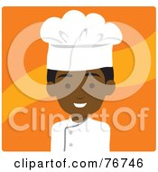 Royalty Free RF Clipart Illustration Of A Black Avatar Chef Man Over Orange