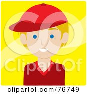 Royalty Free RF Clipart Illustration Of A Friendly Blond Caucasian Avatar Boy Wearing A Baseball Cap Over Yellow