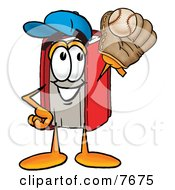 Clipart Picture Of A Red Book Mascot Cartoon Character Catching A Baseball With A Glove