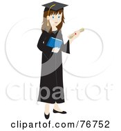 Royalty Free RF Clipart Illustration Of A Brunette Caucasian Female Graduate Holding Her Diploma And A Book
