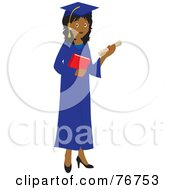 Royalty Free RF Clipart Illustration Of An Indian Female Graduate Holding Her Diploma And A Book by Rosie Piter