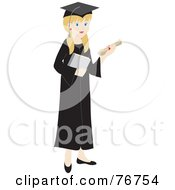 Royalty Free RF Clipart Illustration Of A Blond Caucasian Female Graduate Holding Her Diploma And A Book by Rosie Piter