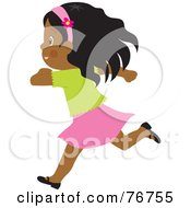Happy African American Girl Running