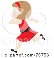 Royalty Free RF Clipart Illustration Of A Happy Dirty Blond Caucasian Girl Running