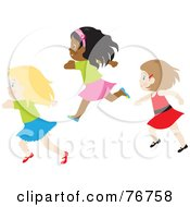 Royalty Free RF Clipart Illustration Of Three Caucasian And African American Girls Running by Rosie Piter