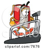 Red Book Mascot Cartoon Character Walking On A Treadmill In A Fitness Gym by Toons4Biz
