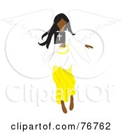 Royalty Free RF Clipart Illustration Of A Black Female Angel Flying With A Bible by Rosie Piter