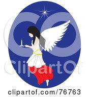 Royalty Free RF Clipart Illustration Of A Black Haired Female Angel Flying In A Blue Oval With A Candle And Star by Rosie Piter
