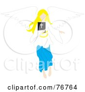 Blond Female Angel Flying With A Bible