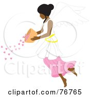 Royalty Free RF Clipart Illustration Of An Indian Female Angel Pouring Hearts From A Bowl by Rosie Piter