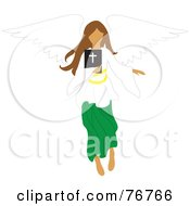 Brunette Female Angel Flying With A Bible
