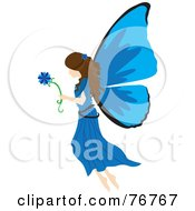 Brunette Female Fairy With Blue Wings Carrying A Flower