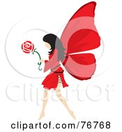Royalty Free RF Clipart Illustration Of A Black Haired Female Fairy With Red Wings Carrying A Flower