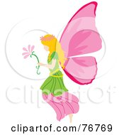 Blond Female Fairy With Pink Wings Carrying A Flower