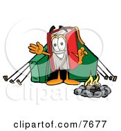 Clipart Picture Of A Red Book Mascot Cartoon Character Camping With A Tent And Fire