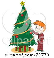 Redhead David Boy In His Pajamas Decorating A Christmas Tree