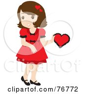 Royalty Free RF Clipart Illustration Of A Pretty Brunette Caucasian Girl In A Red Dress Holding A Red Valentine by Rosie Piter