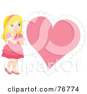 Royalty Free RF Clipart Illustration Of A Blond Caucasian Girl In A Pink Dress Standing By A Big Pink Heart