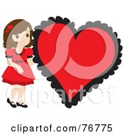 Royalty Free RF Clipart Illustration Of A Brunette Caucasian Girl In A Red Dress Standing By A Big Red Heart by Rosie Piter