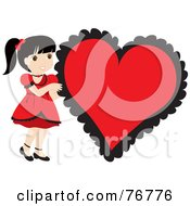 Royalty Free RF Clipart Illustration Of A Black Haired Caucasian Girl In A Red Dress Standing By A Big Red Heart by Rosie Piter