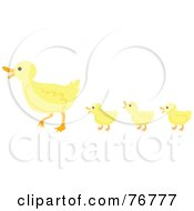 Royalty Free RF Clipart Illustration Of Three Yellow Ducklings Following Their Mother Ducks In A Row