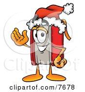 Red Book Mascot Cartoon Character Wearing A Santa Hat And Waving by Toons4Biz
