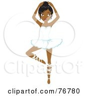 Royalty Free RF Clipart Illustration Of A Graceful Black Ballerina Woman Dancing