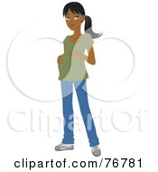 Royalty Free RF Clipart Illustration Of A Pregnant Indian Woman Resting Her Hands On Her Belly by Rosie Piter
